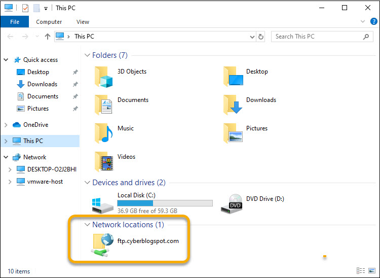The Windows File Explorer showing the newly created FTP location for uploading files to an FTP server