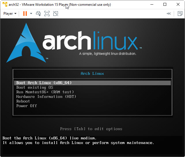 How to Install Arch Linux on VMware WorkStation Player
