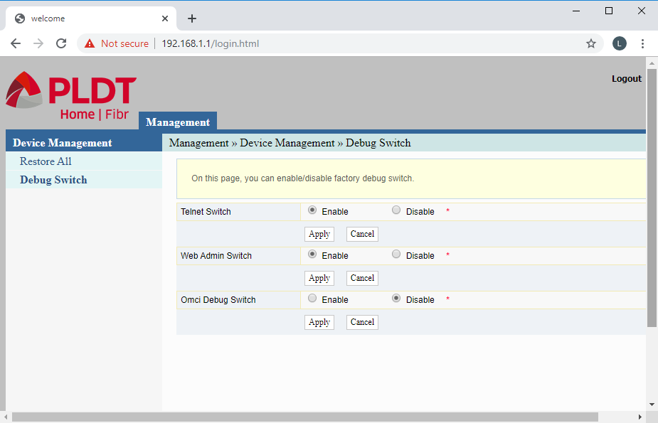 Main window of the admin web page using the fiberhomesuperadmin superadmin account after a hardware reset
