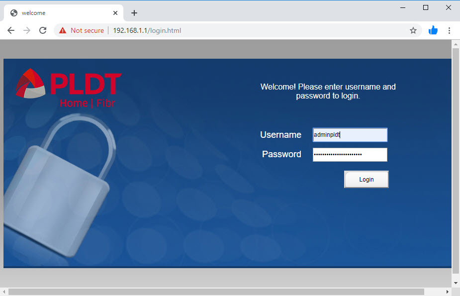 The admin web page showing the login screen after the resetting the router to factory defaults