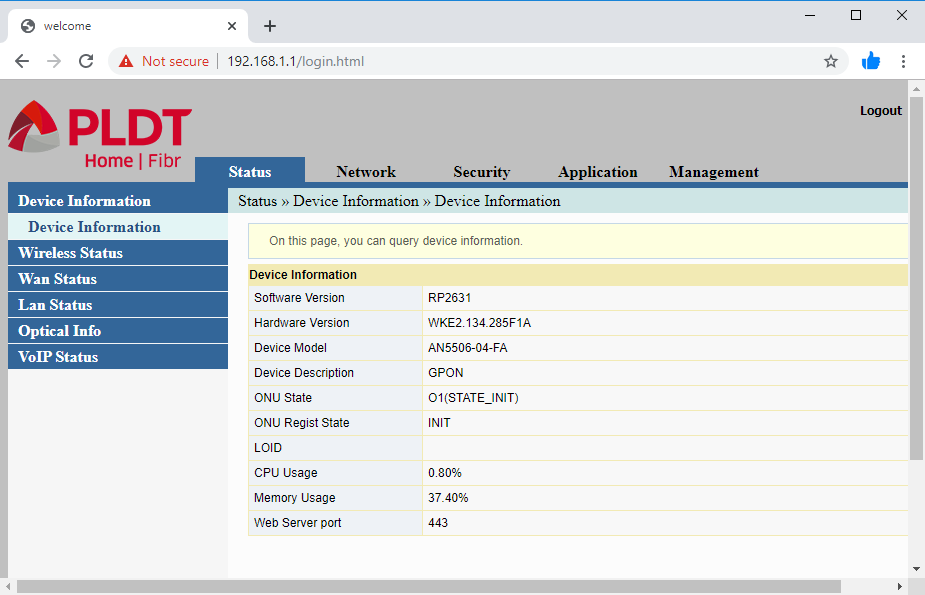 Administrative web page for adminpldt account showing the main menu for configuring the router after a reset of PLDT router to factory defaults
