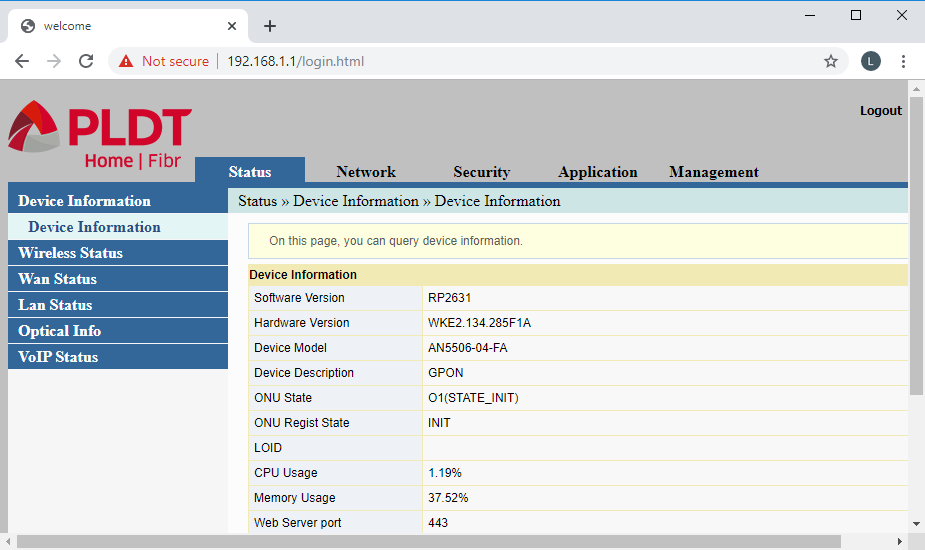 The main menu of PLDT router admin page