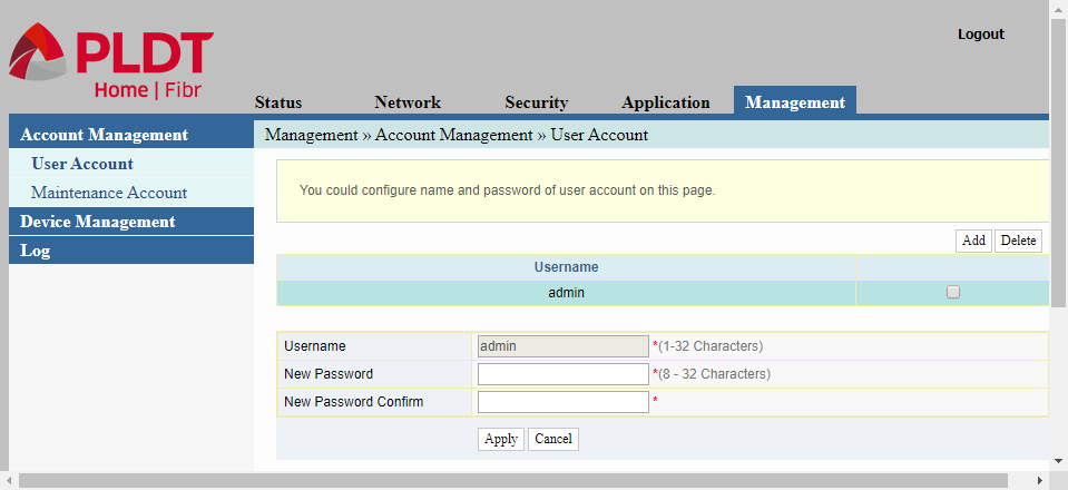 User Account in Account Management for changing the password for the admin account that is used to configure a PLDT router.