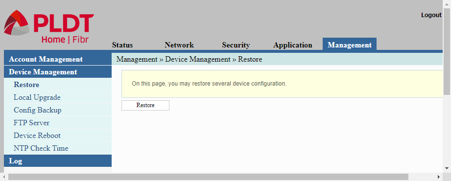adminpldt web interface displaying device management menu for configuring pldt routers