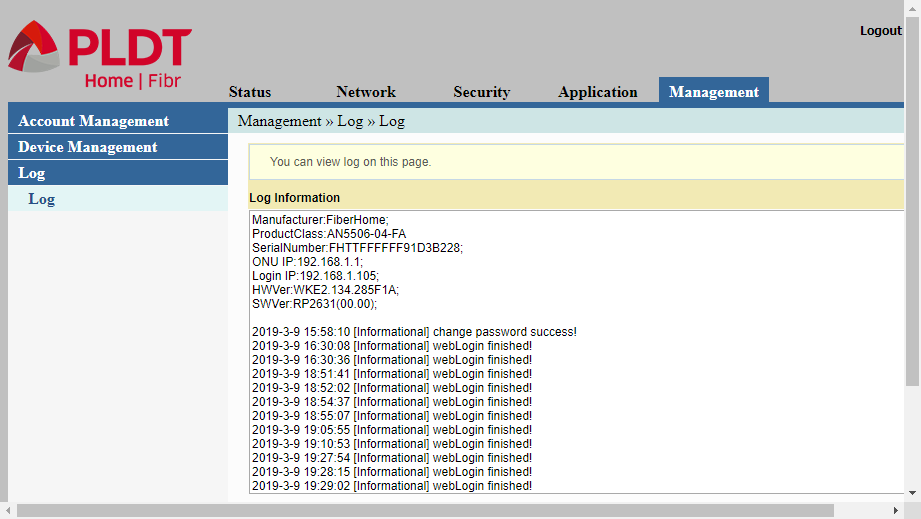 adminpldt web interface showing the management log