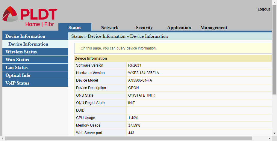 The Status-Device Interface page for configuring a PLDT router.