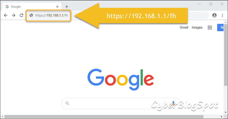 The chrome internet browser with annotated address highlighting the IP address of the web interface for configuring a PLDT router