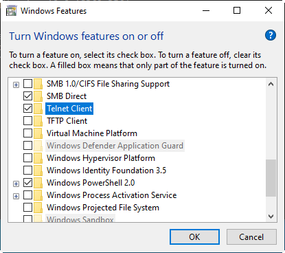 Windows Features Turn Windows features on or off showing check boxes for enabling Windows 10 features