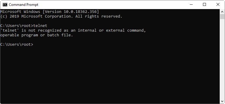 Command Prompt after running the telnet command indicating that telnet is disabled