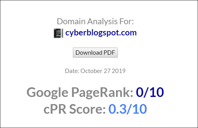 CyberBlogSpot PageRank