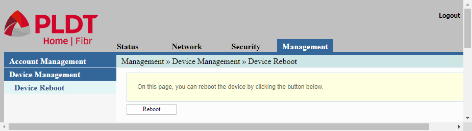 Admin web interface showing the device management item of the main menu item management
