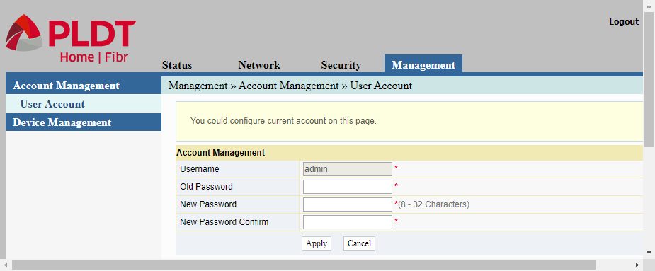 """Admin web interface displaying the user account page for changing the password for the """"admin"""" account"""