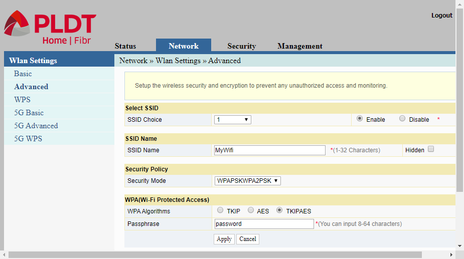 The Advanced WLAN setting for configuring PLDT router
