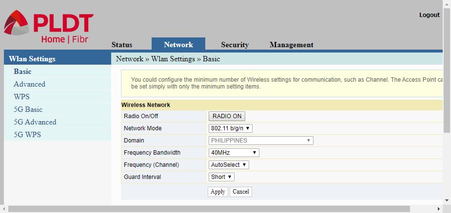 PLDT router web interface showing the configuration options for WLAN settings