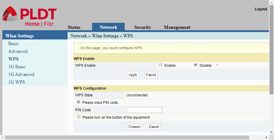 Settings page for Wifi Protected Setup