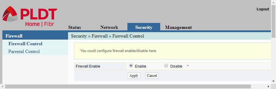 admin web interface showing the page for enabling and disabling the firewall