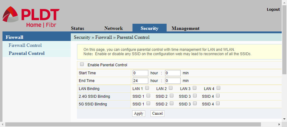 The last item in the Security item is the parental control