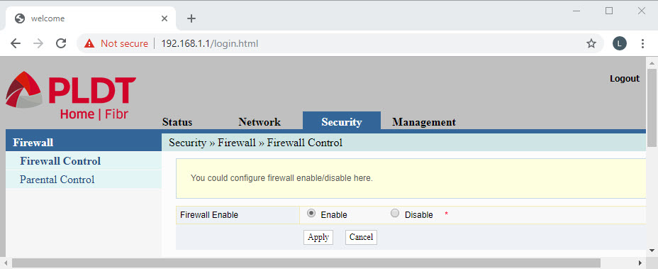 Another screenshot of PLDT router administrative web interface for image comparison