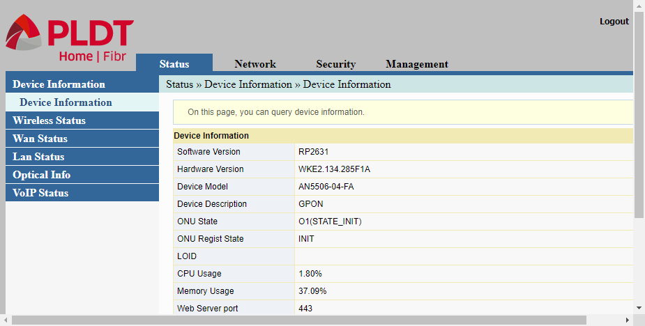 PLDT router admin web interface showing status/device information