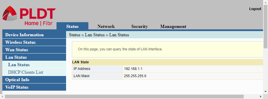 Admin web interface of PLDT router showing LAN status