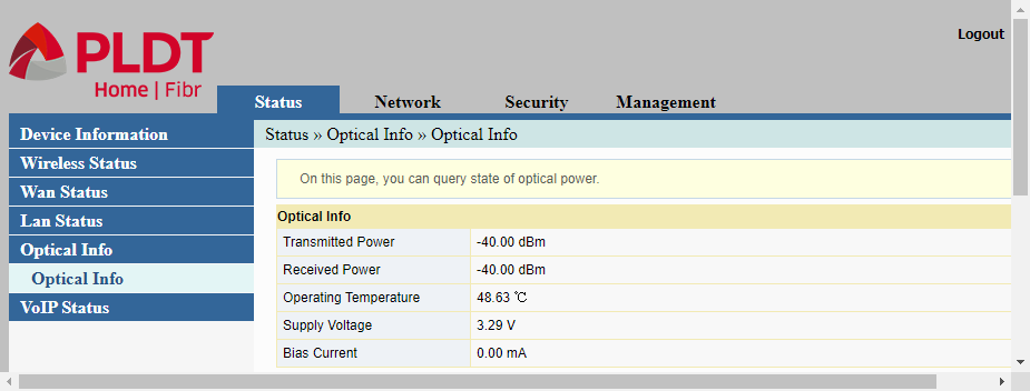 The optical info being shown as part of the status display on PLDT router's web interface