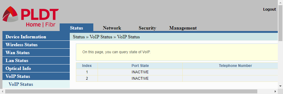 The last screen in the status display of PLDT routers
