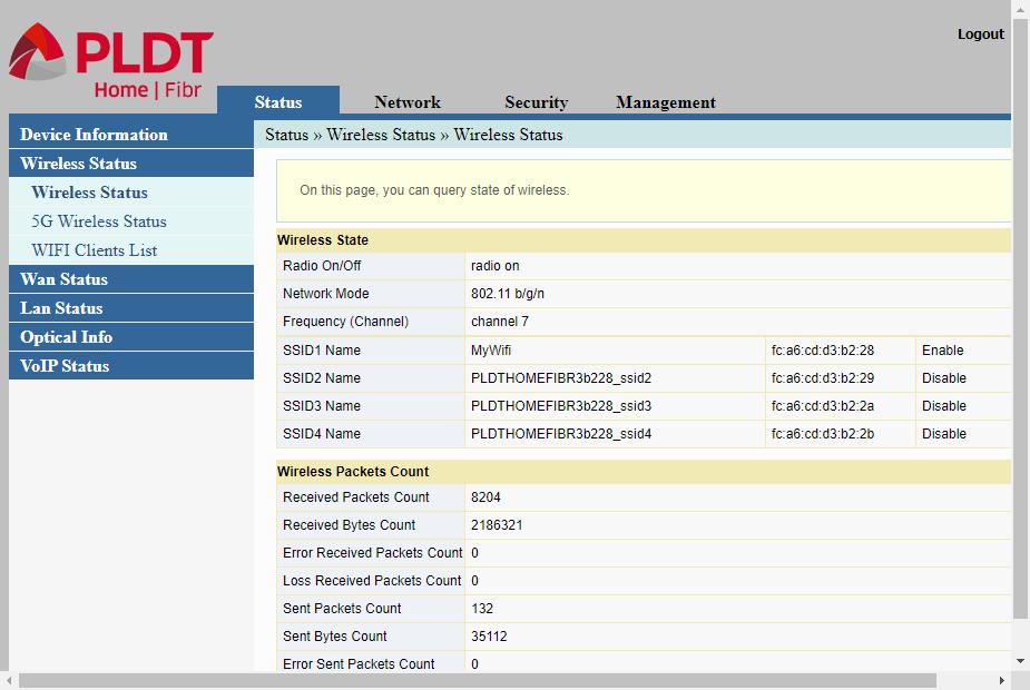 Admin web interface showing status/wireless status