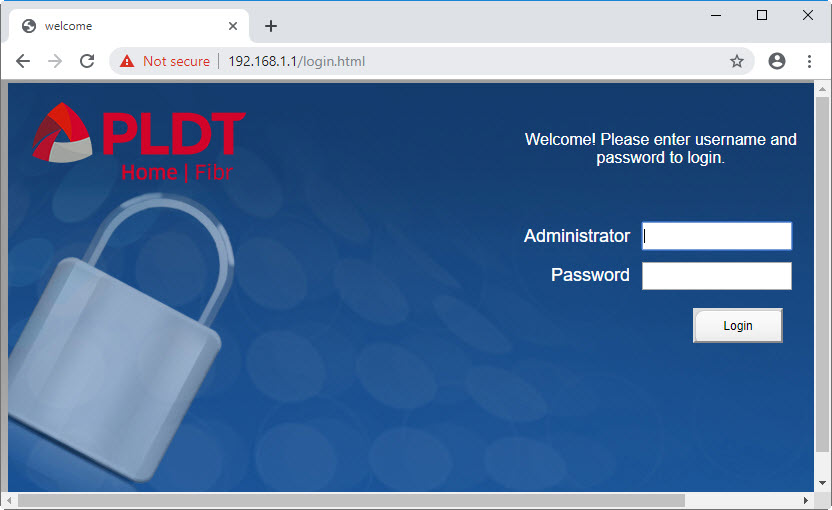 login screen for default password of pldt router SuperAdmin