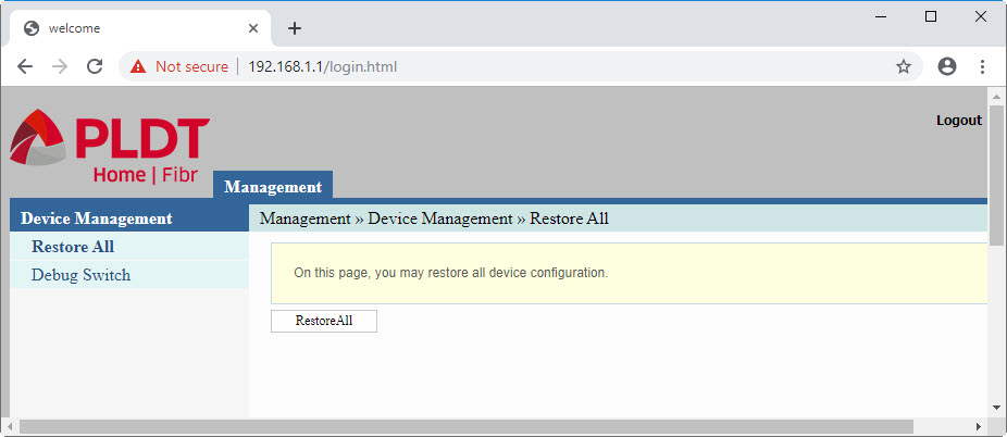 Device Management for the default password of PLDT router