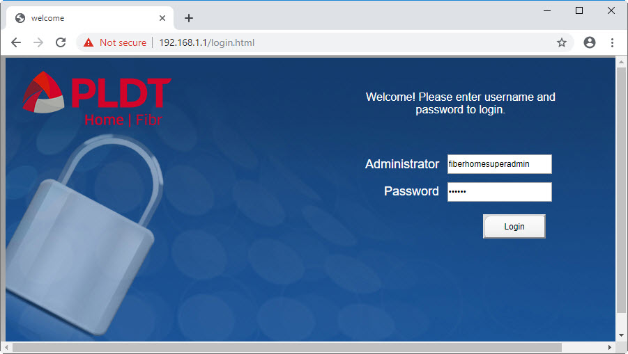 login screen for entering the super admin account, a prerequisite to enabling admin account on pldt home fibr router