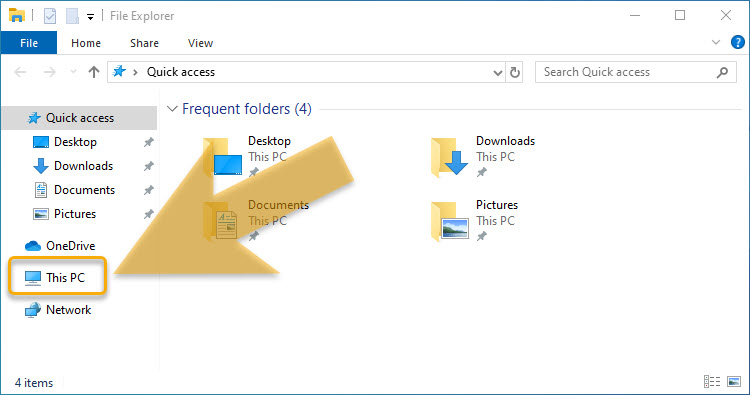 Windows 10 Desktop showing the file explorer icon to click to start setting up Windows 10 to upload files to an ftp server