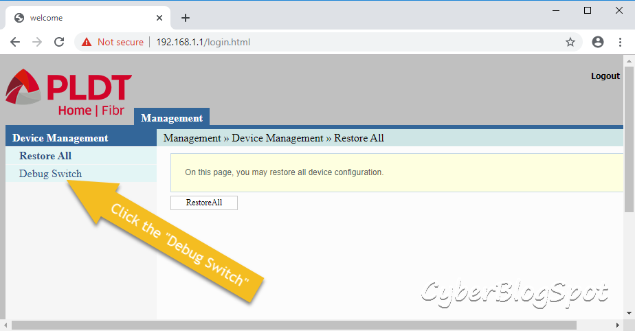 The screenshot show the device management menu in the super admin web interface, the first step to configure a PLDT router.