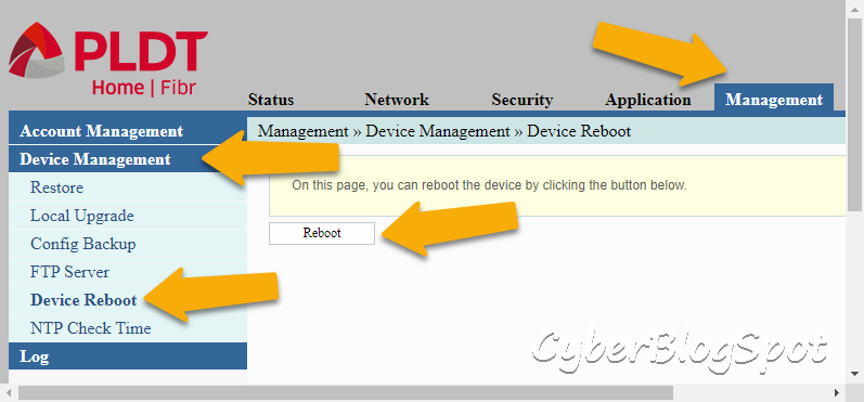The management-device-management-device-reboot page to make the changes to IP address of PLDT routers permanent after a reboot