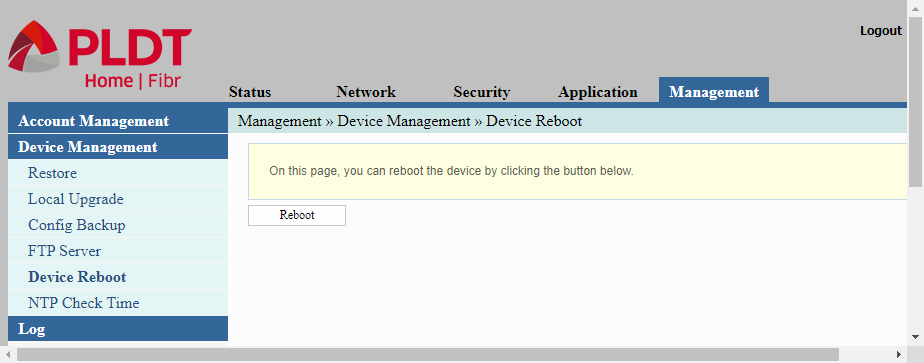 The Device Management/Device Reboot page allows us to reboot after configuring the PLDT router.