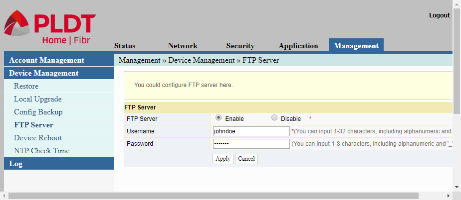In configuring a PLDT router, this is a screenshot showing how to enable the router's FTP server.