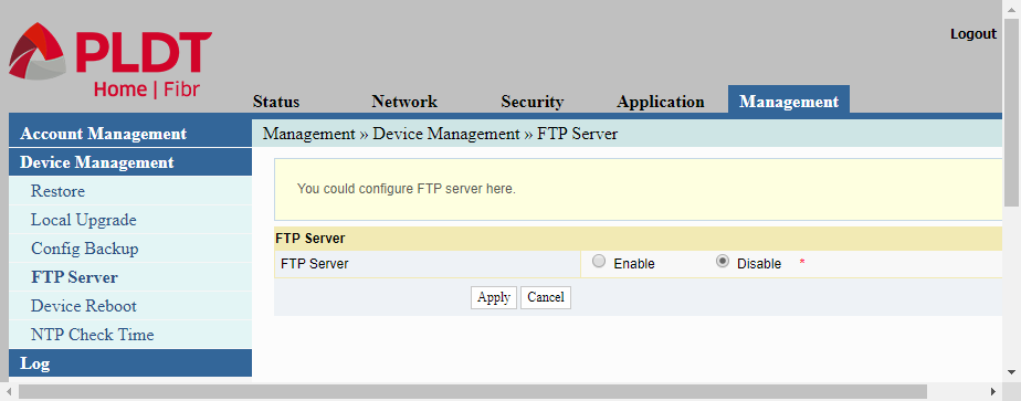 In configuring a PLDT router, this page is the Device Management/FTP Server page for enabling/disabling the router's FTP server.