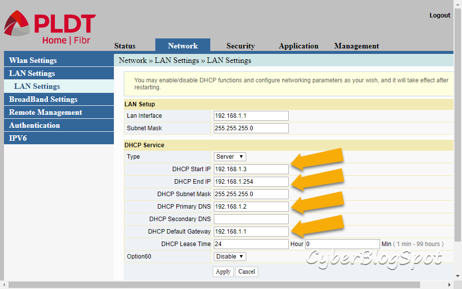 The DHCP configuration page for the proper operation of a PLDT router as an access poin.