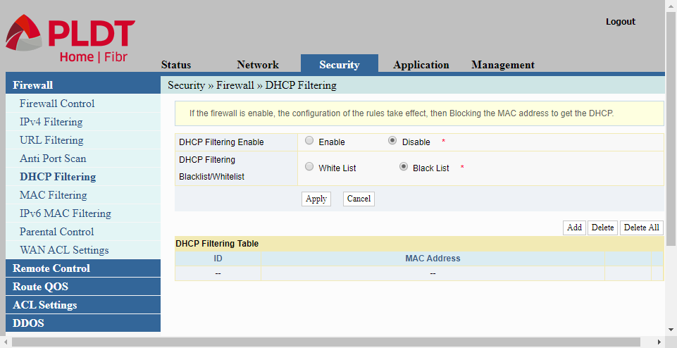 Another option for configuring a PLDT router is DHCP filtering to limit access to the router.
