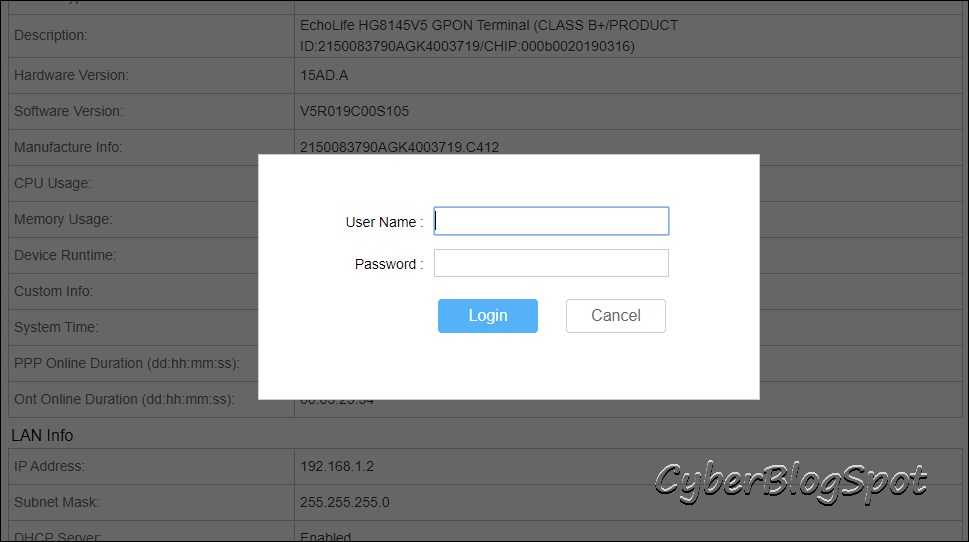 Globe router's login page prompting the user to enter the default username and password of Globe router.