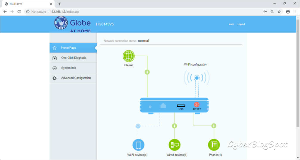 Screenshot of globe main configuration page after typing in the default username and password of Globe router.