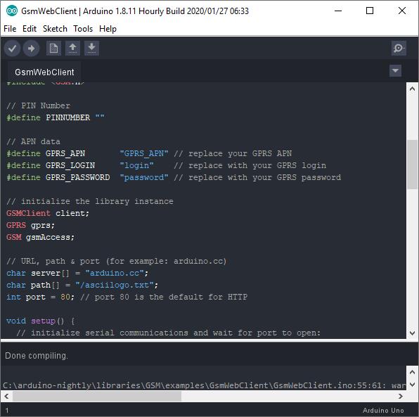picture of arduino ide using the one dark arduino theme