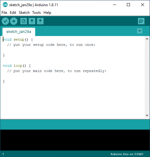 Picture showing the Arduino IDE main windows