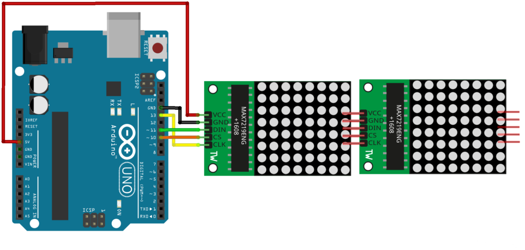 An image showing how to connect an LCD module to an Arduino Uno board as illustration for Arduino Reference and Resources