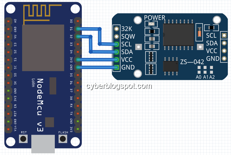 Image showing connection of ds3231 to a nodemcu v3 development board