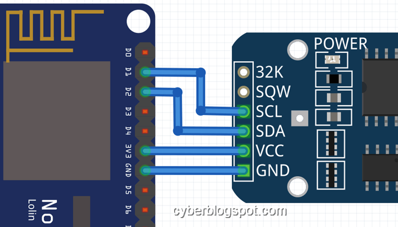 Zoomed view of the connection between ds3231 rtc module to a nodemcu v3 development board