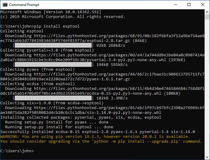 A screen grab of the output on command prompt after running the esptool installer and showing the successful installation of Esptool on Windows 10