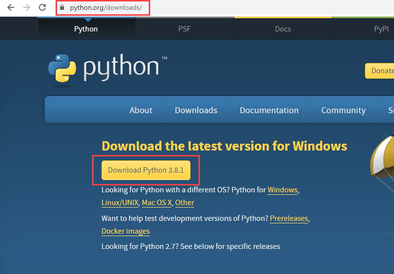 Screenshot of download page of Python where a newer version is available for download