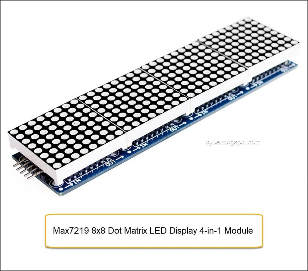 Picture of Max7219 8x8 Dot Matrix LED Display 4-in-1 Module for Arduino Reference and Resources