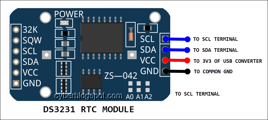 image of the DS3231 RTC clock module depicting terminal connections for the flasher programmer