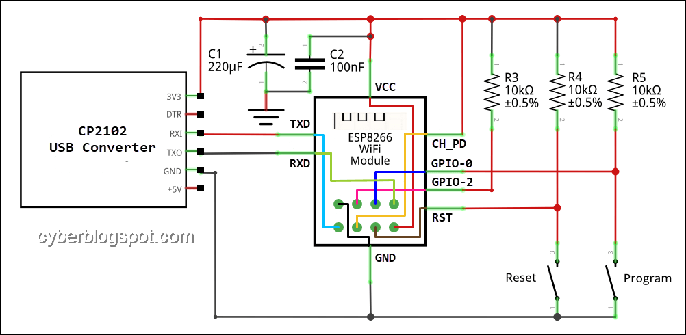 Schematic diagram of an ESP-01 Programmer/Flasher using a USB to TTL converter
